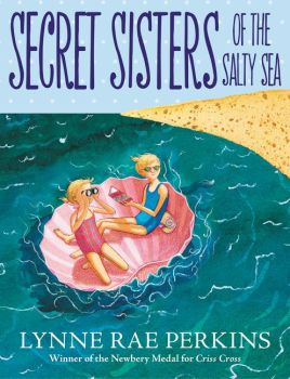 The cover of Secret Sisters of the Salty Sea: two blonde girls float in the ocean in a pink shell